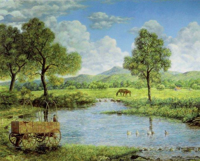 Rural landscape scenery nature wallpaper mural
