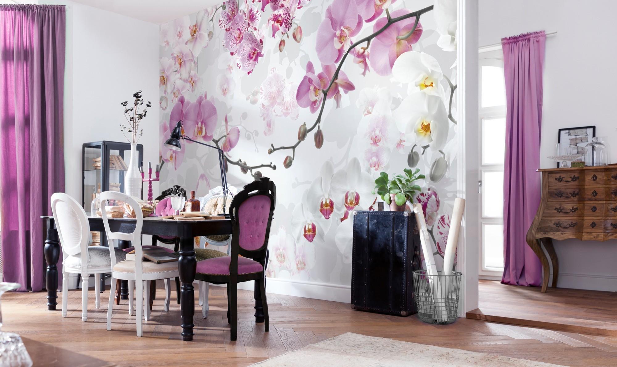 Интерьер кухонь с фотообоями орхидея