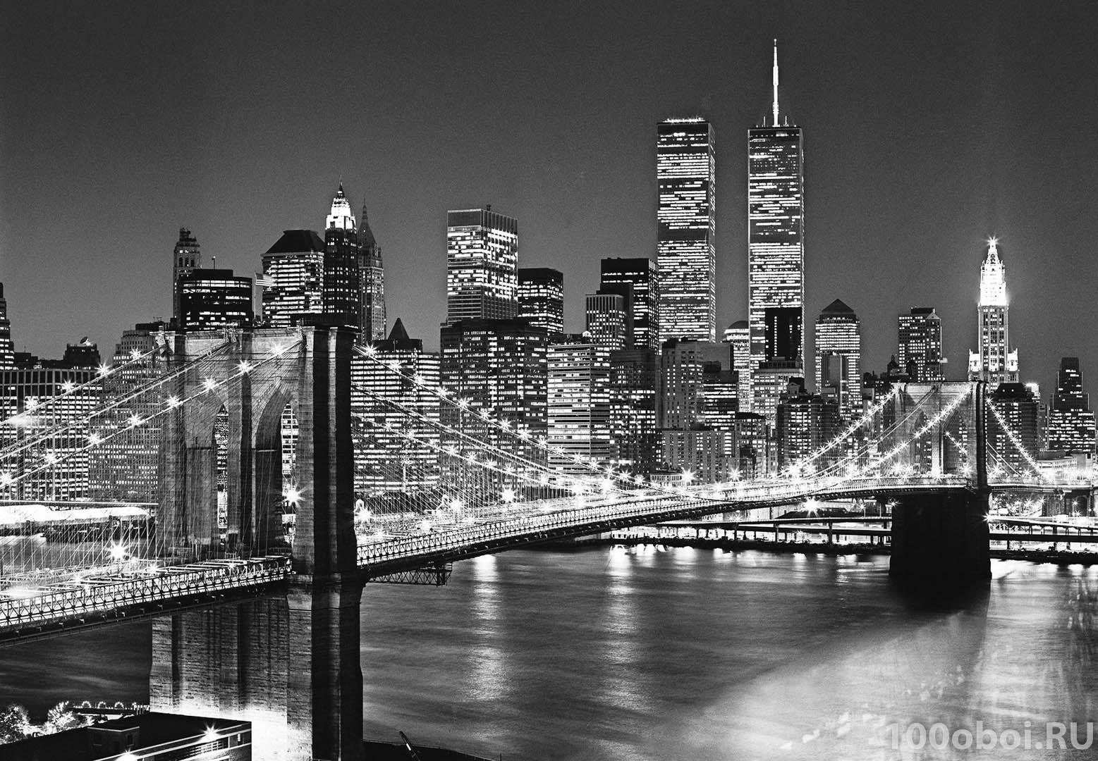Фотообои на стену «Бруклинский мост» WG 00138 (ex 00114 ...: http://100oboi.ru/catalog/fotooboi/black_and_white/fotooboi_wg_00138_brooklyn_bridge/