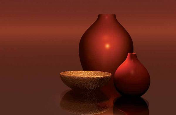 �������� �������� ���� WG 00656  Red Vases with Bowl