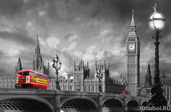 Фотообои  «АВТОБУС НА ВЕСТМИНСТЕРСКОМ МОСТУ» WG 00697 Bus on Westminster Bridge
